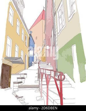 Colourful sketch of narrow street in old town - Stock Photo