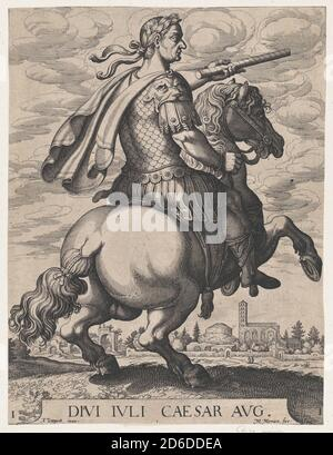 Plate 1: Emperor Julius Caesar on Horseback, from ' The First Twelve Roman Caesars', after Tempesta, 1610-50. Stock Photo