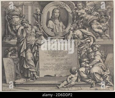 Frontispiece with oval portrait of Raphael, with three allegorical figures of the Arts supporting the tablet at center, 1675. - Stock Photo