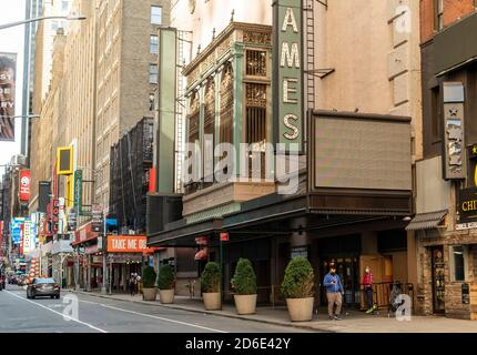 Closed Broadway theatres in New York because of the COVID-19 pandemic on Friday, October 9, 2020. The Broadway League announced that Broadway theaters will remain closed at least until May 30, 2021.  (© Richard B. Levine) - Stock Photo