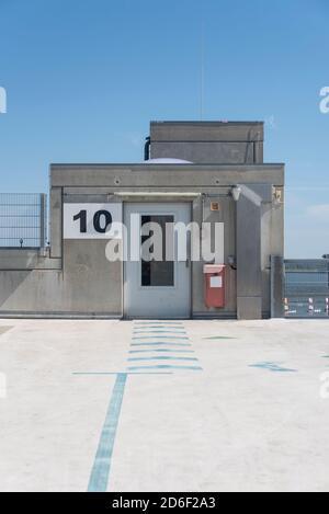Germany, Mecklenburg-Western Pomerania, Stralsund, roof of a parking garage, exit to the elevator