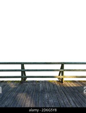 Wooden deck and balcony made of logs isolated on white background - Stock Photo