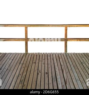 Wooden platform with wooden railing isolated on white background - Stock Photo