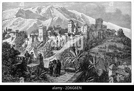 A late 19th Century view of the Alhambra, with the Sierra Nevada mountains in the background. Located in Granada, Andalusia, Spain, it was originally constructed as a small fortress in 889 CE on the remains of Roman fortifications. In the mid-13th century its ruins were renovated and rebuilt by the Nasrid emir Mohammed ben Al-Ahmar of the Emirate of Granada, who built its current palace and walls with many beautiful, intricate details. After the conclusion of the Christian Reconquista in 1492, the site became the Royal Court of Ferdinand and Isabella. - Stock Photo