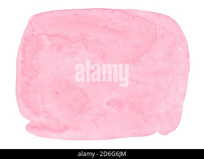 Pink Watercolor background with clear borders and spots. Watercolor brush stains. Frame with copy space for text. - Stock Photo