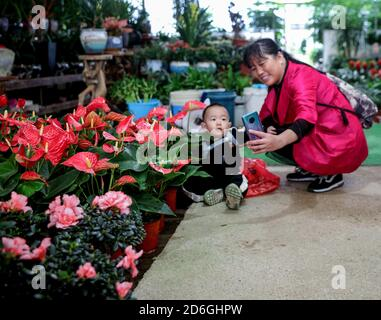 (201017) -- CHANGXING, Oct. 17, 2020 (Xinhua) -- A woman takes a selfie with her son during the Changxing flower and tree fair in Sian Town of Changxing County, east China's Zhejiang Province, Oct. 16, 2020. The Changxing flower and tree fair, exhibiting more than 1,000 species of flowers and trees, kicked off in Sian Town of Changxing on Friday. With the planting area of flowers and trees reaching 283,000 mu (about 18,867 hectares), the flower and tree business in Changxing has achieved a sales volume of nearly two billion yuan (about 298.6 million U.S. dollars) from January to September. (X - Stock Photo