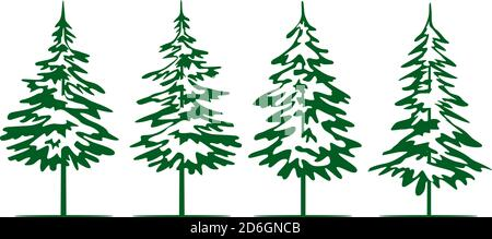 A set of green Christmas Trees. Winter season design elements and simply pictogram collection. Isolated vector xmas Icons and Illustration. - Stock Photo