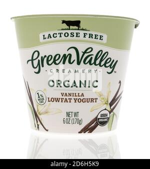 Winneconne, WI - 16 October 2020:  A package of Green Valley yogurt on an isolated background. - Stock Photo