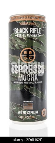 Winneconne, WI - 16 October 2020:  A package of Black Rifle coffee company on an isolated background. - Stock Photo