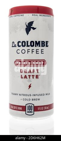 Winneconne, WI - 16 October 2020:  A package of La Colombe coffee on an isolated background. - Stock Photo