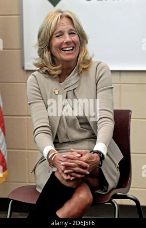Fort Riley, Kansas, USA, April, 6th 2016 Dr. Jill Biden wife of Vice President Joe Biden visits The Fort Riley Middle School Credit: Mark Reinstein/MediaPunch - Stock Photo