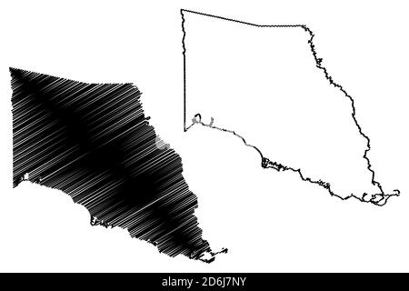 St. Tammany County, Louisiana (U.S. county, United States of America, USA, U.S., US) map vector illustration, scribble sketch Saint Tammany Parish map - Stock Photo