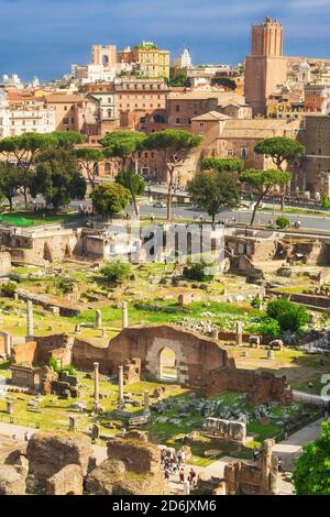 The ancient ruins of the Roman Forum, Italy, as seen from the Palatine Hill - Stock Photo