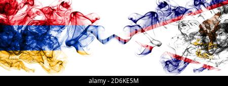 Armenia vs United States of America, America, US, USA, American, American Samoa smoky mystic flags placed side by side. Thick colored silky abstract s - Stock Photo