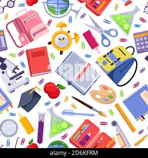 Back to school vector seamless pattern. Colorful education stationery supplies and tools. Fashion textile print or background design. - Stock Photo