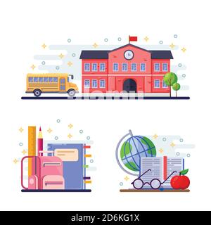 Back to school vector flat illustration. School building, yellow bus and stationery supplies. Education icons and design elements.