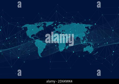 Global network connections with points and lines. Wireframe background. Abstract connection structure. Polygonal space background, illustration