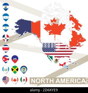 North America map with flags, North America map colored in with their flag. Vector Illustration. - Stock Photo