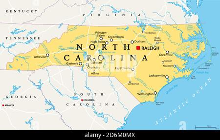 North Carolina, NC, political map. With the capital Raleigh and largest cities. State in the southeastern region of the United States of America. - Stock Photo