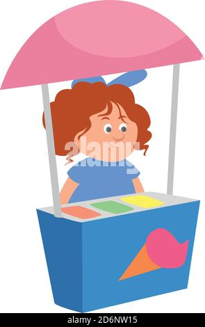 Girl selling icecream, illustration, vector on white background - Stock Photo
