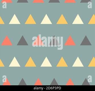 Colorful triangles on blue background, seamless vector pattern. - Stock Photo