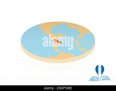 Honduras map designed in isometric style, orange circle map of Honduras for web, infographic and more. - Stock Photo