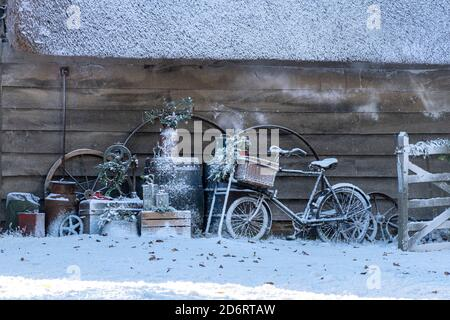 Filming a Christmas episode of BBC television series The Repair Shop in West Sussex, UK, with fake snow covering the scene - Stock Photo