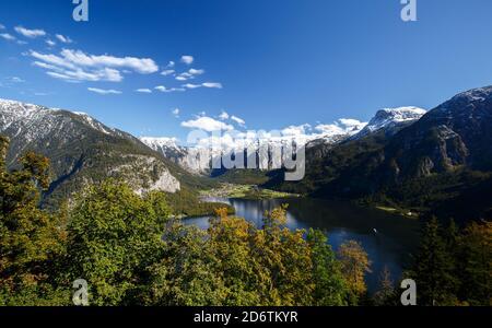 Lakeside in Austria, Hallstatt historical little village, view from the mountain