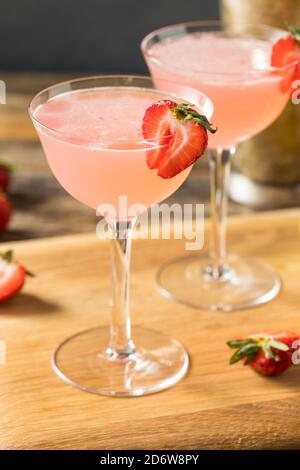 Refreshing Boozy Strawberry Daiquiri with Rum and Lime