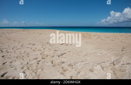 Majestic Caribbean Sea waters at Sandy Point beach area in Frederiksted on St. Croix on a sunny day in the US Virgin Islands