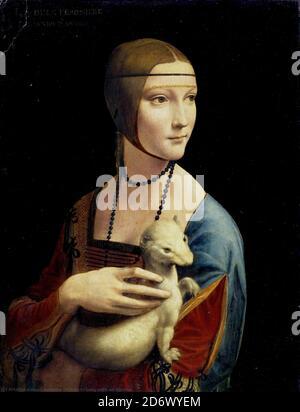 Title: Lady with an Ermine Creator: Leonardo Da Vinci Date: 1490 Medium: oil on walnut panel Dimensions: Czartoryski Museum, Cracow, Poland Location: 54 x 39 cm - Stock Photo