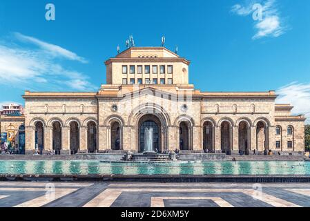 Kentron, Yerevan, Armenia - September 26, 2019: History Museum of Armenia, National Gallery of Armenia with Singing fountains on Republic Square the c