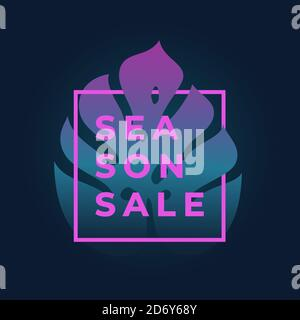 Neon Gradient Monstera Palm Leaf In a Frame with Modern Typography. Abstract Vector Fluorescent Promo Sale Card. Elegant Luminous Advertising Emblem Stock Photo
