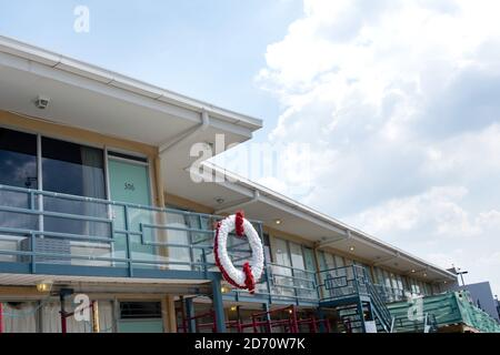 The balcony of the Lorraine Motel in Memphis, Tennessee (now the Civil Rights Museum) where Martin Luther King was assassinated.