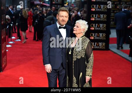 Dame Judi Dench and Kenneth Branagh attending the Olivier Award, at the Royal Opera House in London.
