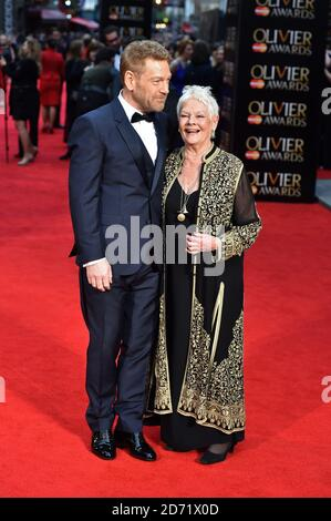 Kenneth Branagh and Dame Judi Dench attending the Olivier Awards, at the Royal Opera House in London.