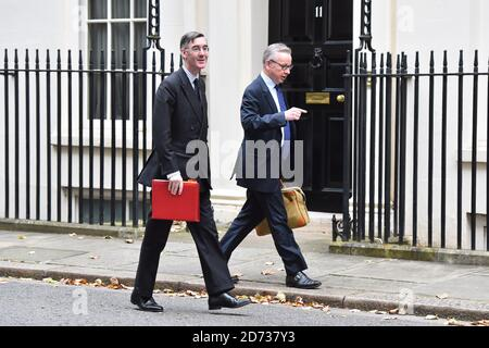 Leader of the House of Commons Jacob Rees-Mogg (left) and Chancellor of the Duchy of Lancaster Michael Gove arriving for a Cabinet meeting in Downing Street, London. Picture date: Tuesday October 29, 2019. Photo credit should read: Matt Crossick/Empics - Stock Photo