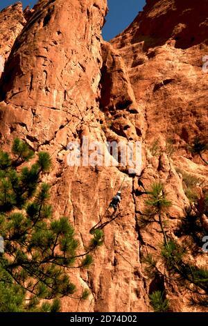 Rock Climbing in Garden of the Gods Park in Colorado Springs, Colorado, USA