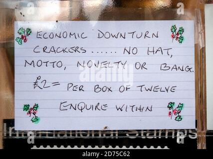 London, UK. 20th Oct, 2020. Coronvirus: Economic Downturn. A window sale note posted in a Lewisham corner shop window makes light of the current UK economic situation owning to Covid19 with Christmas high street retail fast approaching. Credit: Guy Corbishley/Alamy Live News