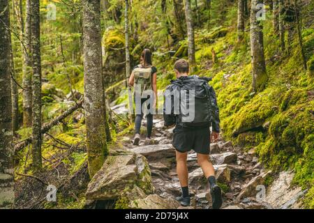 Hike couple hikers hiking forest trail in Autumn nature going camping with backpacks. Friends woman and man walking uphill on mountain in Quebec