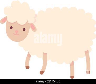 cartoon farm sheep domestic animal vector illustration - Stock Photo
