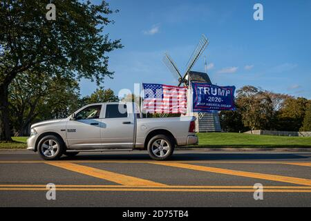 New York, United States. 18th Oct, 2020. Flags, signage, and various political products reveal America's contentious allegiances leading up to the 2020 Presidential election. (Photo by Michael Nigro/Pacific Press) Credit: Pacific Press Media Production Corp./Alamy Live News - Stock Photo