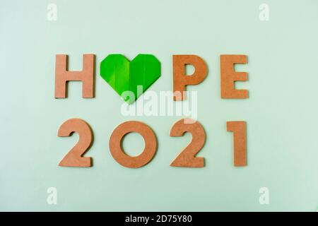 2021 new year banner on green background - Stock Photo