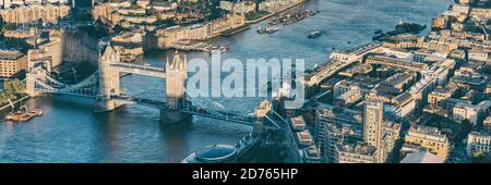 Aerial panoramic view from above of London city and the River Thames, England, United Kingdom UK. Europe cityscape travel destination. Banner crop
