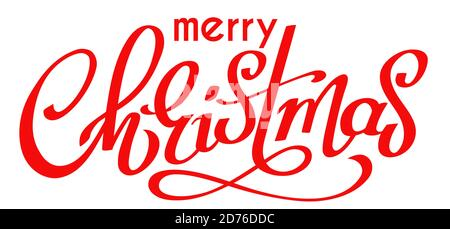 Red inscription Merry Christmas, hand written lettering for winter holidays design, calligraphy vector illustration - Stock Photo