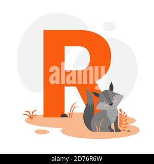 Children ABC english animal alphabet with R letter and cute Raccoon.