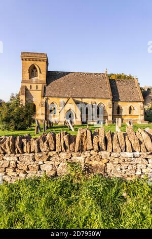 Evening light on St Barnabas church in the Cotswold village of Snowshill, Gloucestershire UK