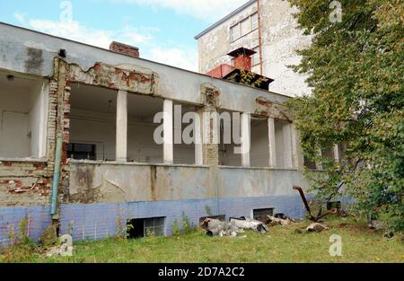 Ramshackle industrial building in an industrial district on the outskirts of a provincial town Martin in Slovakia in  Europe. There used to be strong. - Stock Photo