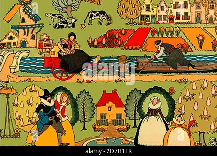 1926 coloured Dutch illustration - Aspects of life in earlier times in Holland showing traditional dress, windmill, architecture,farming,canal barge, men, women and child - Stock Photo