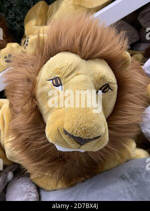 Vertical closeup of the head of a stuffed toy lion